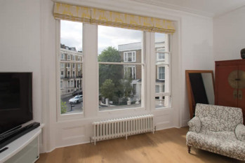 A Creative Solution – Roman Panel Blinds for a Large Window, Maida Vale London W9
