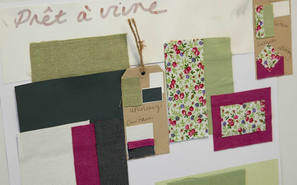 Our fabric mood boards, ideal for colour co-ordinating